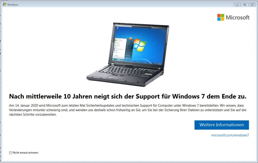 Ablauf Windows 7 - Migration auf Windows 10