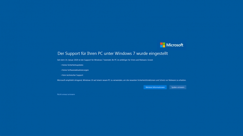 Ende Windows 7 - Migration auf Windows 10